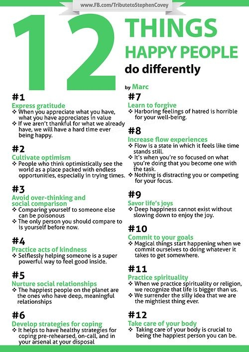 12 things happy people do