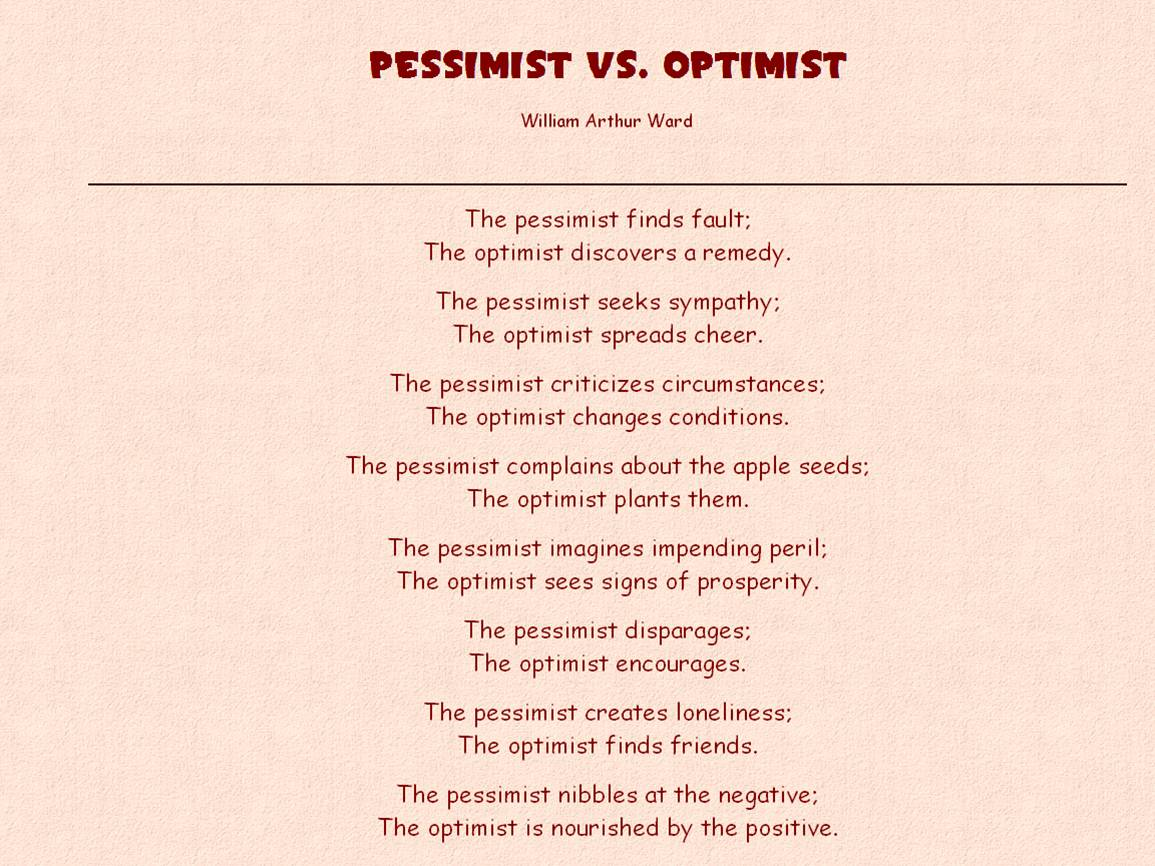 pessimistic vs optimistic essay Or essay pessimistic are you optimistic essay women labor home pro choice abortion essays yesterday i stand here ironing essay university of chicago.